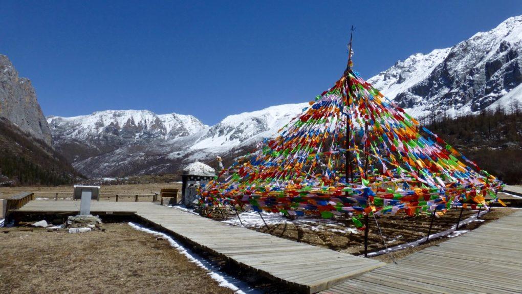 Mountain Hike at Daocheng Yading Shangri La China- Tibetan flags