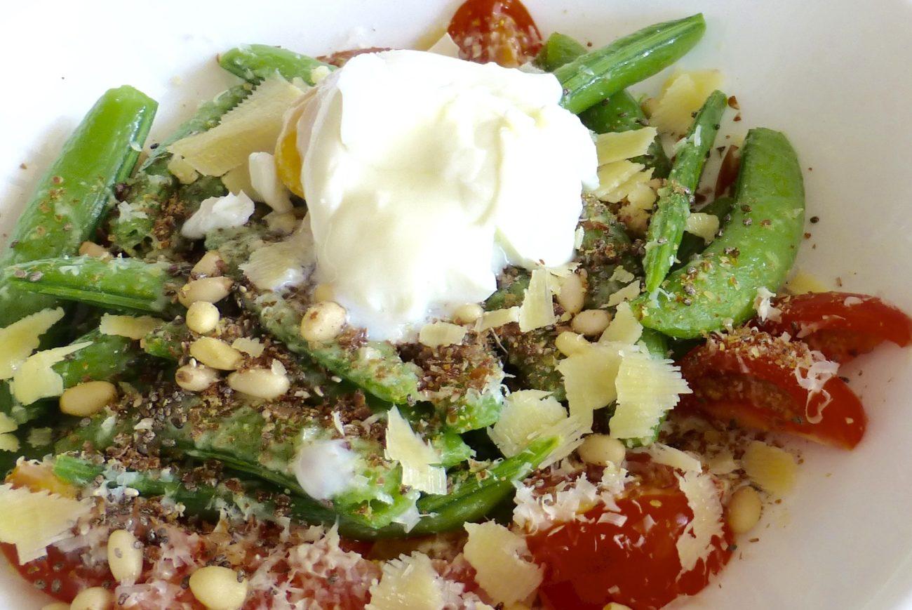 Sugar snap pea and Parmesan Salad