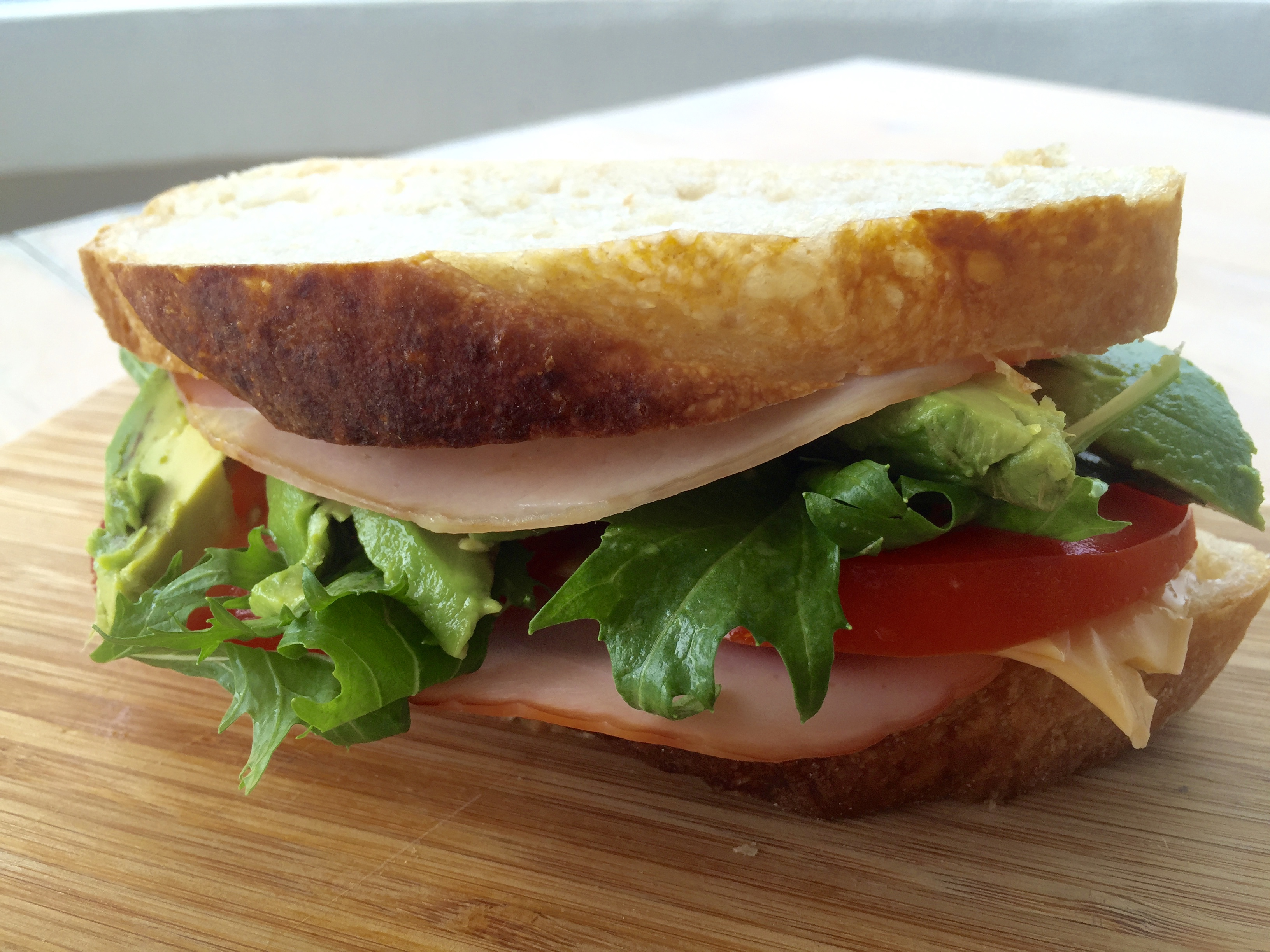 Healthy ham and cheese sandwich