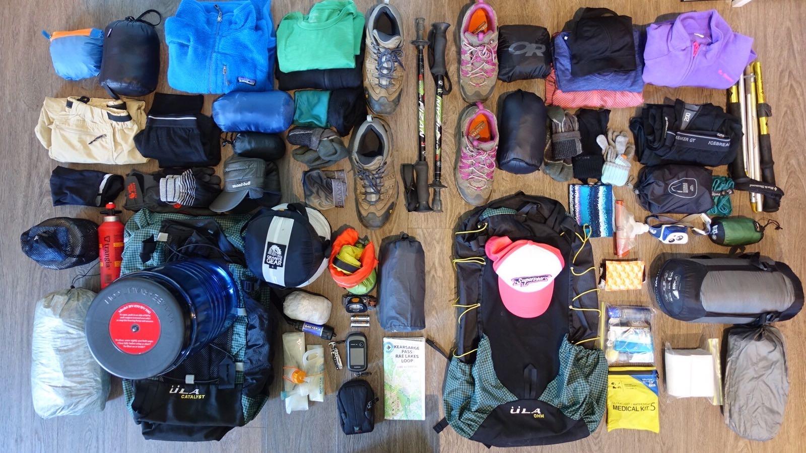 Rae lake loop hike gear